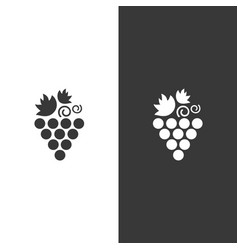 grapes icon on black and white background fruit vector image