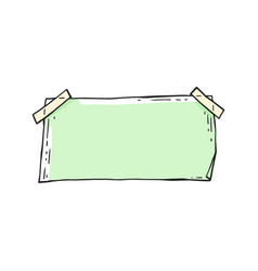 Green rectangle sticker note with blank empty vector