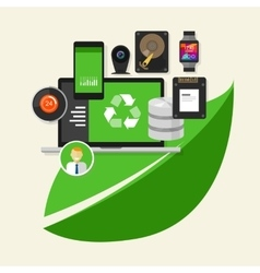 green recycle computer technology computing vector image