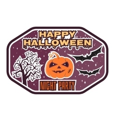 Halloween vintage badge emblem or label vector