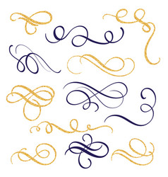 Hand drawn gold and black ink swirls and vector