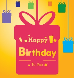 Happy birthday with colorful gift on colorful vector image