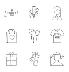 Happy mama day icon set outline style vector