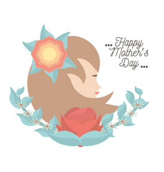 Happy mothers day card woman figure flower vector