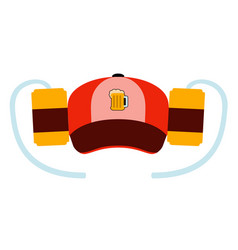 hat with a pair of beer cans vector image