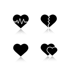Heart shapes drop shadow icons set vector