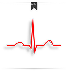 Heartbeat line red background vector