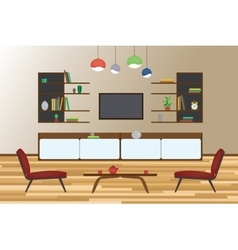 Home Interior flat design Living and vector image