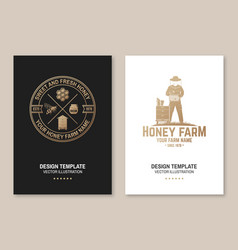 honey farm poster flyer template vector image