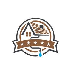 House rogutter logo design badge emblem vector