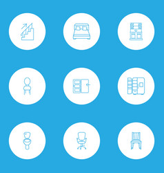 interior icons line style set with toilet seat vector image
