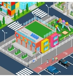Isometric Kindergarten with Playground vector image