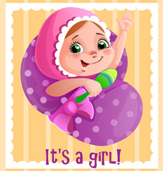 it s a girl greeting cart template for vector image