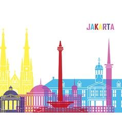 Jakarta skyline pop vector
