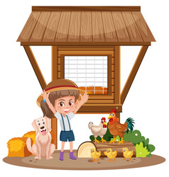 Little girl and chicken coop on white background vector
