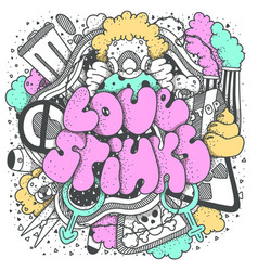 love stinks text lettering drawn art sign vector image