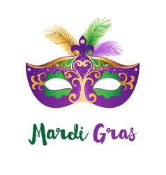 Mardi gras card with carnival mask vector
