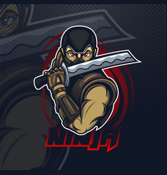 mascot logo with ninja for esport or cyber team vector image