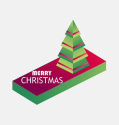 merry christmas isometric christmas tree 3d icon vector image