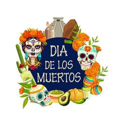 Mexican holiday day dead or dia de los muertos vector