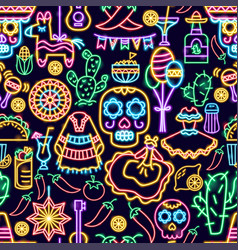 mexican holiday seamless neon pattern vector image
