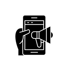 mobile promotion black icon sign on vector image