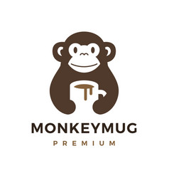 Monkey hold mug coffee drink logo icon vector