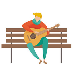 Musician playing guitar on wooden bench vector