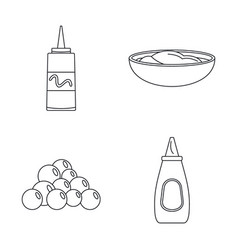 Mustard seeds sauce icons set outline style vector