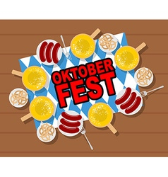 Oktoberfest beer and sausages Pretzels and grilled vector image