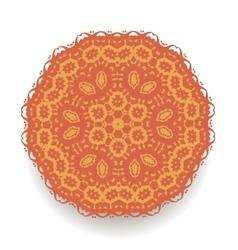 Orange mandala isolated round ornament vector