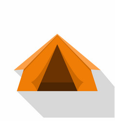Orange touristic camping tent icon flat style vector