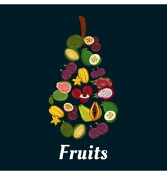 Pear fruit symbol with exotic tropical fruits vector image