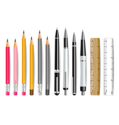 pen pencil and ruler realistic set 3d vector image