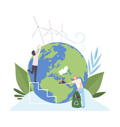 people cleaning earth planet from industrial vector image