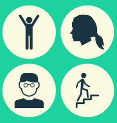 Person icons set collection of scientist happy vector