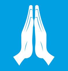 prayer icon white vector image