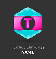 Realistic letter t logo in colorful hexagonal vector
