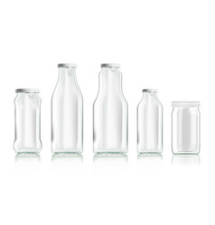 realistic transparent clear empty bottles set vector image