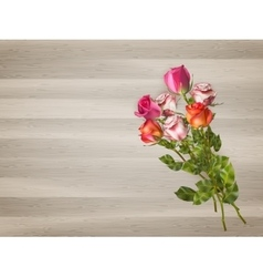 Red roses on a wooden background EPS 10 vector image