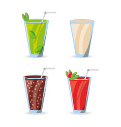 Refreshment smoothies and soda drinks menu vector