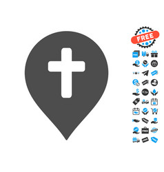 Religion cross marker icon with free bonus vector