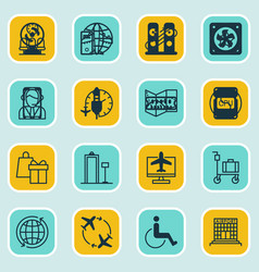 Set of 16 travel icons includes security scanner vector