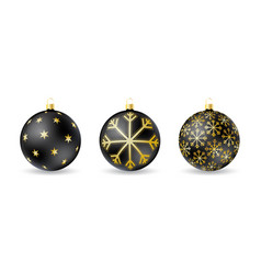 set of black christmas balls with winter ornament vector image