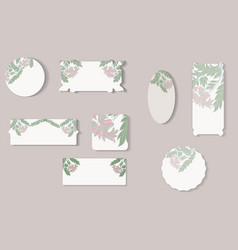 set of different floral paper labels vector image