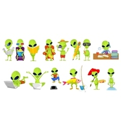 set of green aliens hobby vector image