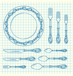 set of hand drawn tableware vector image