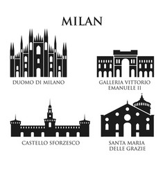 set of italy architecture landmarks pictogram in vector image