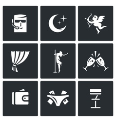 Set of strip club icons security night vector