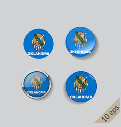set round buttons with image oklahoma vector image